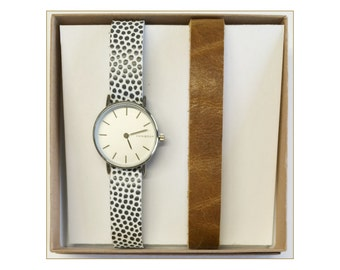 Women's watch - watch woman with interchangeable bracelets pockmarked and duo mustard