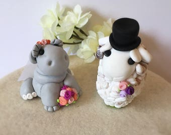 Hippo Bride and Sheep Groom Clay Wedding Cake Topper- Custom Made to Order