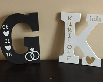 Wood Personalized Initial Sign; engagement, wedding, bridal shower gift, couples gift