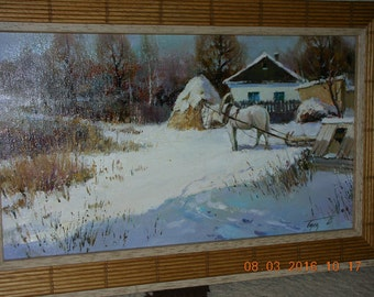 "Original oil painting ""First Snow"",canvas, in an expensive frame Spain"