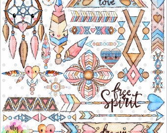 75%OFF - Tribal Clipart, Tribal Graphic, COMMERCIAL USE, Kawaii Clipart, Watercolor Boho, Planner Accessories, Boho Clipart, Dreamcatcher