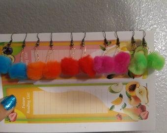 Sorted colors of Pom pom earrings