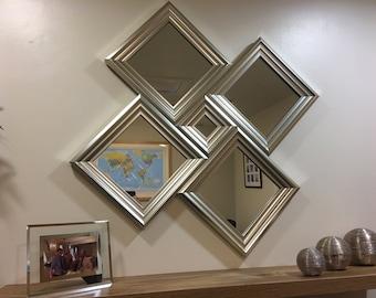 "EXCLUSIVE""The Lancaster"" Silver Diamond Wall Mirror 87 X 87 CM"