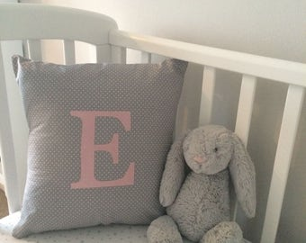Grey and Pink Appliqued Cushion, Personalised Cushion, Baby Bedding, Nursery Cushion