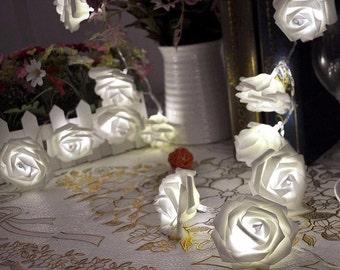 20 LED White Rose String Lights