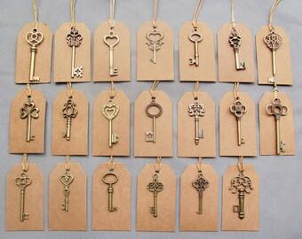 20 Sets Antique Style Bronze Keys & Kraft Tags