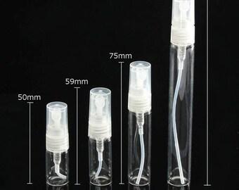 5 Pcs (2 mL - 10 mL) Mini Glass Spray Bottles