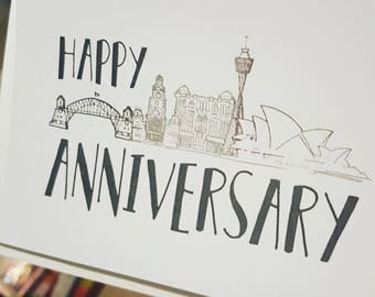Sydney Skyline - Happy Anniversary Card