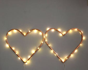copper pipe love heart with copper lights