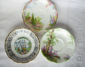 Decor saucer Royal Albert saucers Wall decor Kitchen decor Landscape saucers Gift fro mom Scenic saucers Scenery saucers Country decor Plate