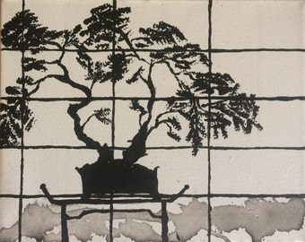 acrylic painting, japanese, charity, bonsai, black and white, modern painting, contemporary