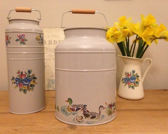 Hand decorated enamel milk churn