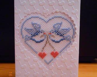 """cross stitch card """"Love"""""""