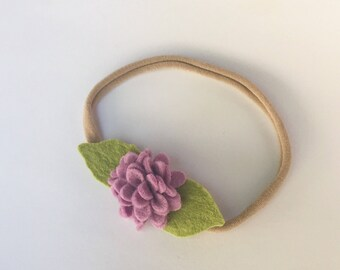 Petite Flower headband, Baby bloom headband, newborn headband, tiny newborn headband, tiny flower headband, tiny baby headband,purple flower