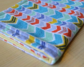 Colorful Chevron Burp Cloth: flannel burp cloth, baby gift, baby shower gift, baby girl gift, baby boy gift, gender-neutral baby gift