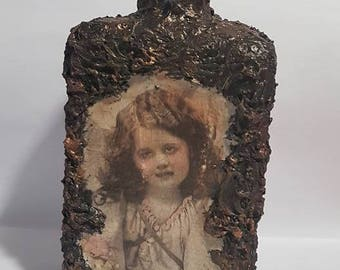 Decoupage Angel Bottle