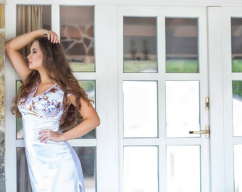 Long Floral White Satin Nightdress, Bridal Nightgown, Satin Dress, Satin Pyjamas, Feminine Nightwear