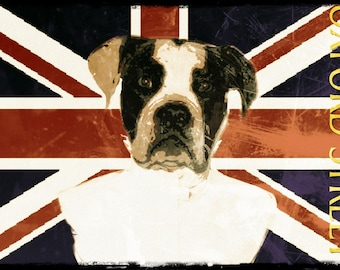 British dog, English flag with dog, Oxford Street, Union Jack, Staffordshire, Spitz, boxer
