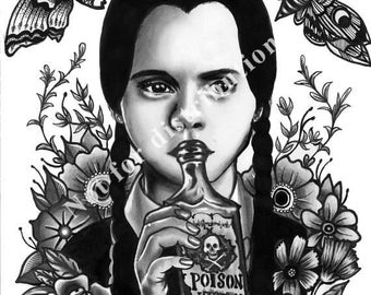 Wednesday Addams A4 Fine Art Flash Print Tattoo Art Traditional A3
