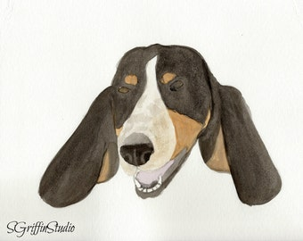 Giclee Print, Basset Hound, Watercolor Painting, 8x10