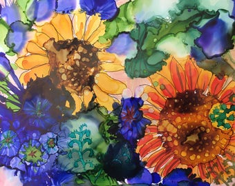Sunflowers Alcohol Ink Print