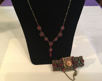 Michal Negrin bracelet and Liz Palacios SF neckace and earrings with Swarovski crystals