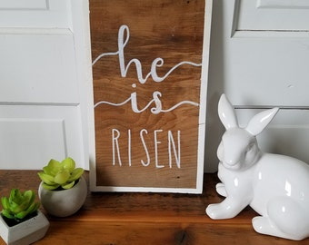 "Farmhouse Easter Sign ""He is Risen"" on barn wood"