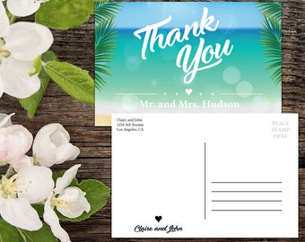 Thank you Postcard template, Destination Wedding, Beach Wedding, Tropical Wedding, Wedding Thank You, Thank You Card, Printable Thank You