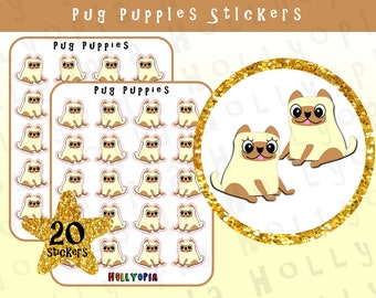 20 Cute Pug Puppy Planner Stickers, Perfect for your Happy Planner, Erin Condren, Diary, Calendar etc, PERSONALISE UK