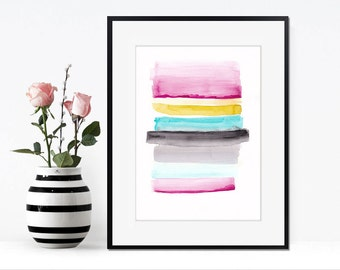 Printable women gift, Black pink blue abstract painting, gift for her, abstract wall art, modern abstract art, INSTANT download wall art  20