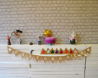 Photo Booth Burlap Wedding Bunting Celebration Engagement Party Banner Bunting Decoration colorful hearts black white text