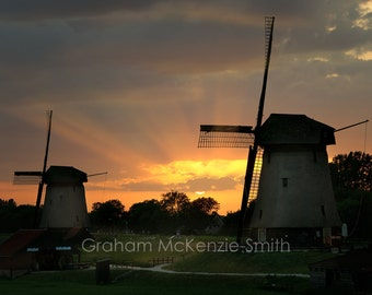Sunset windmills , Holland photography, Holland art print, Netherlands