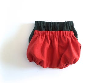 Set of Linen Bloomers for boys and girls- Terracotta - Dark Green