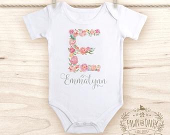 Floral Monogram Onesie®  - Baby Shower Gift - Baby Girl Onesie® - Personalized Onesie® - Baby Girl Clothes