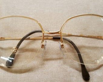Luxotica Avant-Garde Italy Vintage Gold Metal Frame Eyewear Glasses Sunglasses Shades Ceres