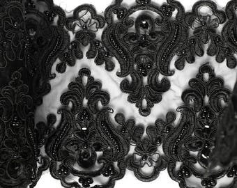 Opulent lace with beads and sequins 21cm black embroidery ornament