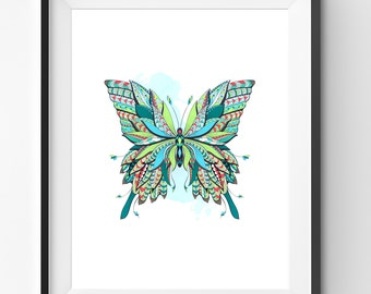 Colorful Butterfly Art, Butterfly Wall Art, Mosaic Butterfly Print, Ethnic Butterfly, Butterfly Digital Print, Digital Download