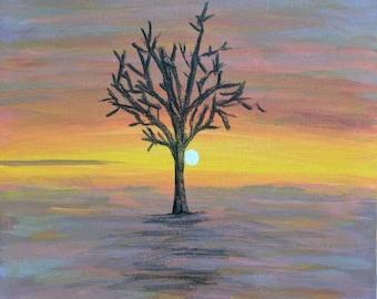 """Seul; Original landscape painting; 9x12"""" canvas"""