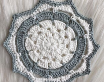 Blue and white small Mandala /  bedroom décor / kitchen décor  /  ethical / fair trade / organic cotton/ crochet