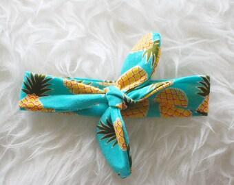 Pineapple top knot headband, baby girl headband, top knot headband