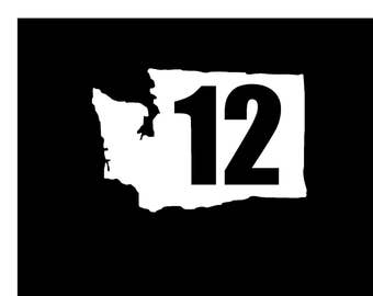 Washington State 12 vinyl decal. Show your love for the Seahawks and your state with this decal, available in 17 different colors!