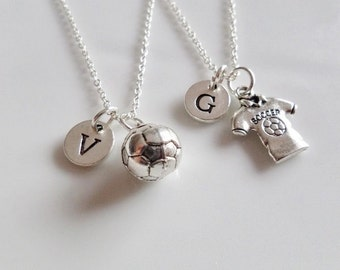 Soccer Necklaces, Set of 2 necklaces, Soccer best friends necklaces, Soccer ball necklace, Soccer jersey jewelry, Gifts for soccer team