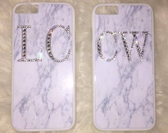 Swarovski Crystallised Grey Marble Initial Phone Case