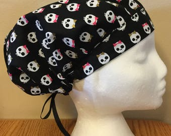 Skulls with Bows, Women's Surgical Scrub Hat, Bouffant Style