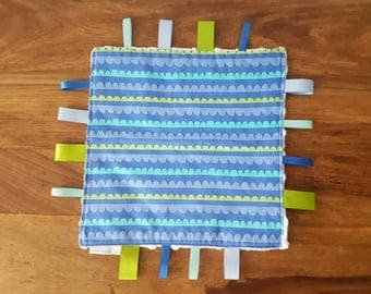 Blue and Green Print Baby Taggie Comforter