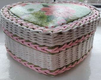 Jewelry box.   Wicker baskets for decoration. Wicker box.