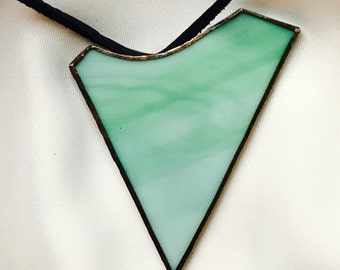 Handmade exclusive necklace with lightgreen pendant made of Tiffany glass