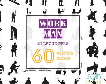 Workman Clipart, Human Icons, Man Clipart, Construction Clipart Svg, Silhouette Clipart, Design Elements, Svg Silhouette, Vector Svg, EPS