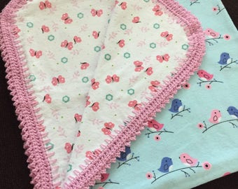 Baby birds flannel baby blanket, butterfly baby blanket, birds baby blanket, flannel blanket with crochet edge, birds and butterflies