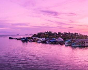 Digital Photography,Panorama, Prasae Gulf views at sunset. Prasae a Gulf fishing communities with ancient civilizations.
